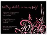40th Birthday Invitations with Photo Cabiri Pink 40th Birthday Invitations