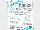 40th Birthday Invitations with Photo Printable forty Rocks Birthday Party Bash Invitation