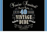 40th Birthday Invitations with Photo Vintage Dude 40th Birthday Party Invitations
