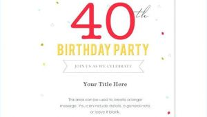 40th Birthday Invite Language Free 40th Birthday Party Invitation Templates Image