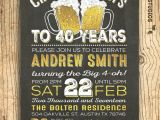 40th Birthday Party Invitations for Men 40th Birthday Invitation for Men Cheers Beers to 40 Years