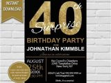 40th Birthday Party Invitations for Men 40th Surprise Birthday Invitation 40th Birthday Invite