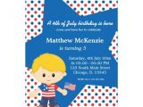 4th Birthday Party Invitations Boy 4th Of July Birthday Boy 5×7 Paper Invitation Card Zazzle