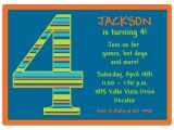 4th Birthday Party Invitations Boy Birthday Boy Stripes 4th Birthday Invitations Paperstyle