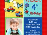 4th Birthday Party Invitations Boy Colorful Transportation Birthday Invitation Party Airplanes