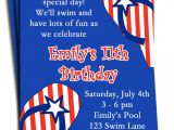4th Of July Party Invite Wording Fourth Of July Pool Party Invitation Printable or Printed with