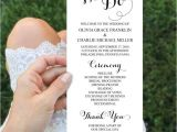 4×8 Wedding Invitations Wedding Programs 4×8 Wedding Program Template Editable