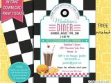 50s Party Invitation Templates Free 50s Retro Diner Invite 50s Party Invitation Burger Party