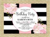 50th Birthday Brunch Invitations 30th Birthday Invitation Black White Stripes Pink Peonies