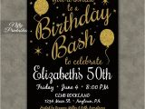 50th Birthday Party Invitations with Photo 50th Birthday Invitation Printable 50 Black Gold Glitter