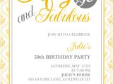 50th Party Invites Templates Fifty and Fabulous 50th Birthday Invitation Wedding