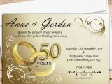 50th Wedding Invitations Designs 10 Personalised Gold Rings 50th Golden Wedding Anniversary