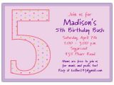 5th Birthday Invitation Wording 5th Birthday Girl Dots Birthday Invitations Paperstyle