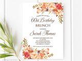 60th Birthday Brunch Invitations Birthday Brunch Invitation 60th Birthday Invitation Fall
