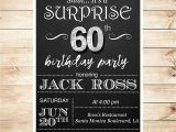60th Birthday Invitations for Him 60th Birthday Surprise Party Invitations by Diypartyinvitation