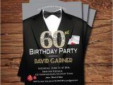 60th Birthday Invitations for Him Casino 60th Birthday Invitation Adult Man Birthday Party