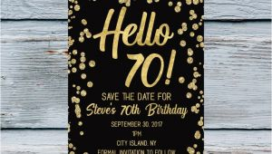 70 Year Old Birthday Invitation Template Hello 70 Save the Date Men 70th Birthday Invitation 70