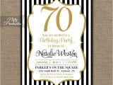 70 Year Old Birthday Invitations 70th Birthday Invitations Black & Gold Glitter 70 Seventy