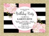 70th Birthday Brunch Invitations 30th Birthday Invitation Black White Stripes Pink Peonies