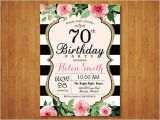 70th Birthday Brunch Invitations 70th Birthday Invitation for Women Pink Watercolor Floral