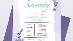 70th Birthday Invitation Template Word 70th Birthday Invitation Template Word Psd Indesign