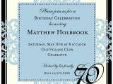 70th Birthday Invitation Wording Decorative Square Border Blue 70th Birthday Invitations