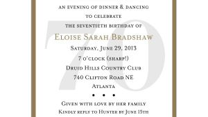 70th Birthday Invitation Wordings 70th Birthday Party Invitation Wording