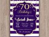 70th Birthday Invitations for Female 70th Birthday Invitation 70th Birthday Party Invitations