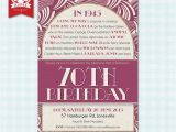 70th Birthday Invitations for Female 70th Birthday Party Invitations 1945 Women S Fun