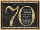 70th Birthday Invitations for Her 70th Birthday Invitation Gold Glitter Birthday Party