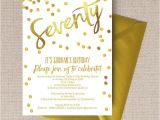 70th Birthday Invitations for Her Gold Calligraphy Confetti 70th Birthday Party Invitation