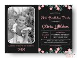 70th Birthday Invitations for Her Photo Birthday Invitation 70th Birthday Invitation