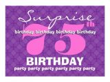 75th Surprise Birthday Invitations 75th Surprise Purple Birthday Party S454 5×7 Paper
