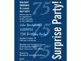 75th Surprise Birthday Invitations Surprise Modern 75th Birthday Navy Blue and White 5×7