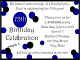75th Surprise Birthday Party Invitation Wording 75th Birthday Party Invitations Ebay
