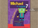 7th Birthday Invitation Card Printable 7th Birthday Invitation Boys Robot Invitation Nifty