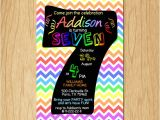 7th Birthday Invitation Card Printable 7th Birthday Invitation Rainbow Chevron Pastel Seventh