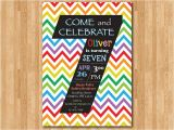 7th Birthday Invitation Card Printable Rainbow 7th Birthday Invitation Colorful Chevron Birthday