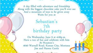 7th Birthday Invitation Sample 7th Birthday Party Invitation Wording Wordings and Messages