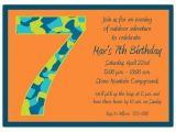 7th Birthday Invitation Sample Birthday Boy Camo 7th Birthday Invitations Paperstyle