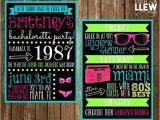 80s Bachelorette Party Invitations Neon 80s Bachelorette Party Invitation Double Sided