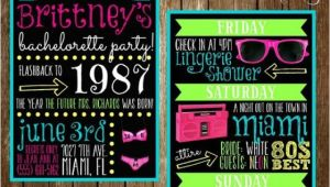80s Bachelorette Party Invitations Neon 80s Bachelorette Party Invitation Double Sided