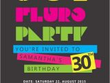 80s Birthday Party Invitation Template 80s Birthday Digital Printable Invitation Template Fluro