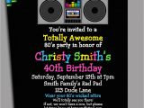 80s Birthday Party Invitation Wording 80s Party Invitation Printable or Printed with Free Shipping