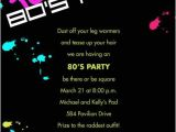80s Birthday Party Invitation Wording 80s Party Invitation Wording Cimvitation