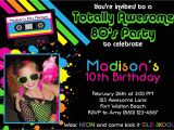 80s Party Invite Awesome 80 39 S 5×7 Party Invitation Girl Birthday