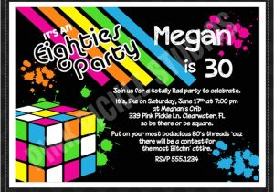 80s theme Party Invitation Templates Free Back to the 80 39 S 2 Personalized Party Invitation