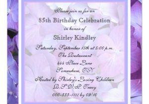 85 Birthday Invitations 85th Birthday Party Invitation Hydrangeas Zazzle
