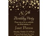 85 Birthday Party Invitations Golden Confettti 85th Birthday Party Invitation