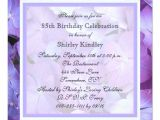 85th Birthday Invitations 85th Birthday Party Invitation Purple Hydrangeas